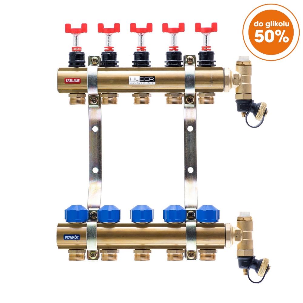 Rozdzielacze z przepływomierzami i wkładkami termostatycznymi typ RW-PTR