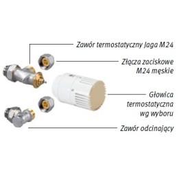 Zestaw podłączeniowy LOW-H2O do ściany M24 Pod obudową i głowicą na dole COLO.SW2.