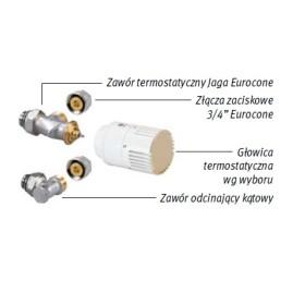 Zestaw podłączeniowy do ściany 3/4 Eurocone z zaworami Jaga pod obudową COLO.SW2.
