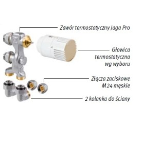 Zestaw podłączeniowy LOW-H2O do ściany M24 Poniżej obudowy z głowicą na dole COLO.PW(1/2).