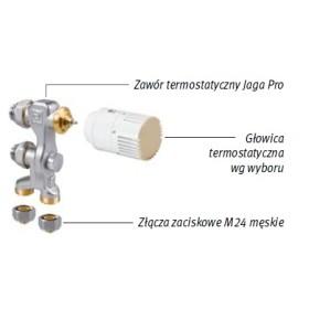 Zestaw podłączeniowy LOW-H2O do podłogi M24 Poniżej obudowy z głowicą na dole COLO.PF(1/2).