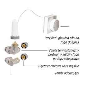 Zestaw podłączeniowy LOW-H2O do ściany M24 Pod obudową i głowicą zdalną lub siłownikiem COLO.HW(L/R).