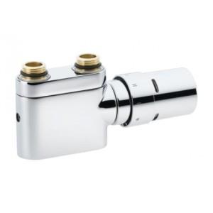 Zestaw do grzejników dekoracyjnych i łazienkowych z połączeniem dolnym D-50 mm VHX-Duo z ogranicznikiem RTX Chrom Prosty 013G4376