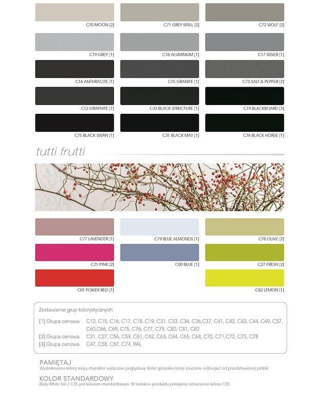 Grzejnik Belti -wzornik kolorów