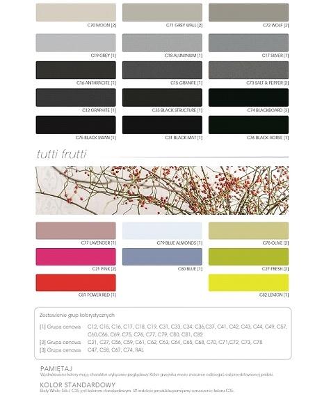 Grzejnik Trick -wzornik kolorów
