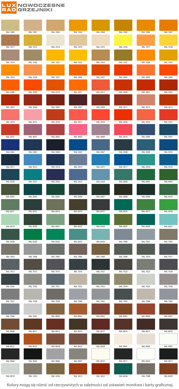 Luxrad paleta RAL