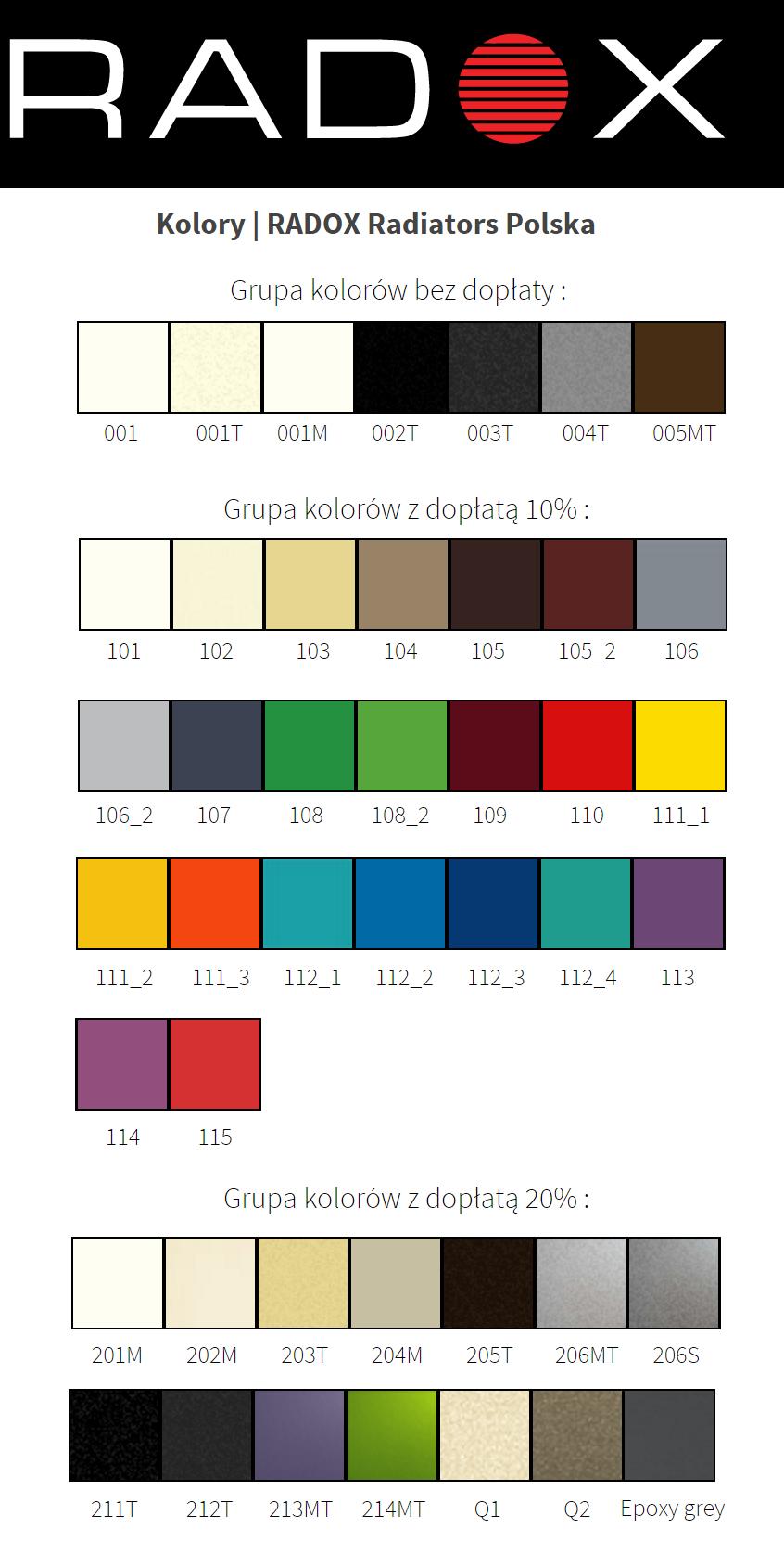 Paleta kolorów grzejników Radox
