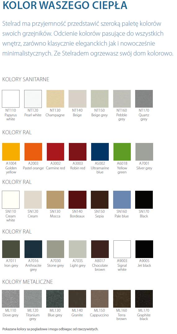 Paleta kolorów Stelrad